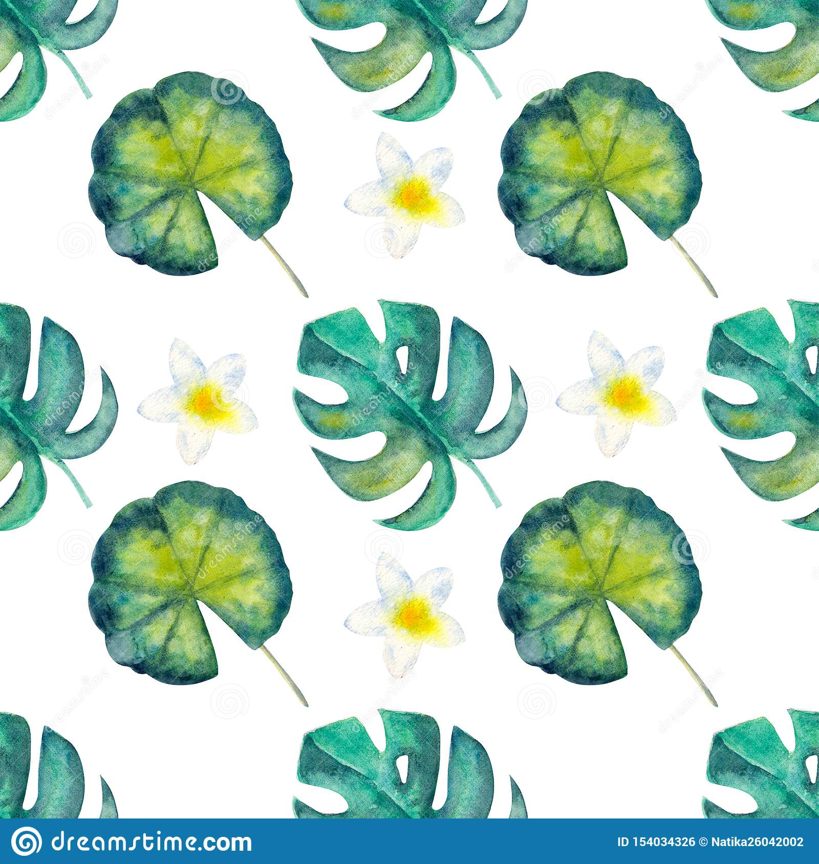 Exotic Tropical Leaves Seamless Pattern On White Isolated