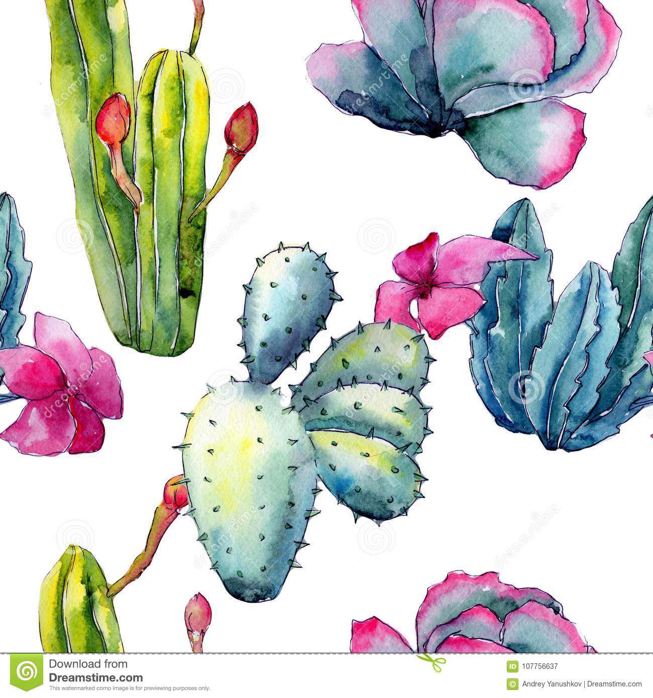 Exotic Wildflower Cactus Pattern In A Watercolor Style Stock