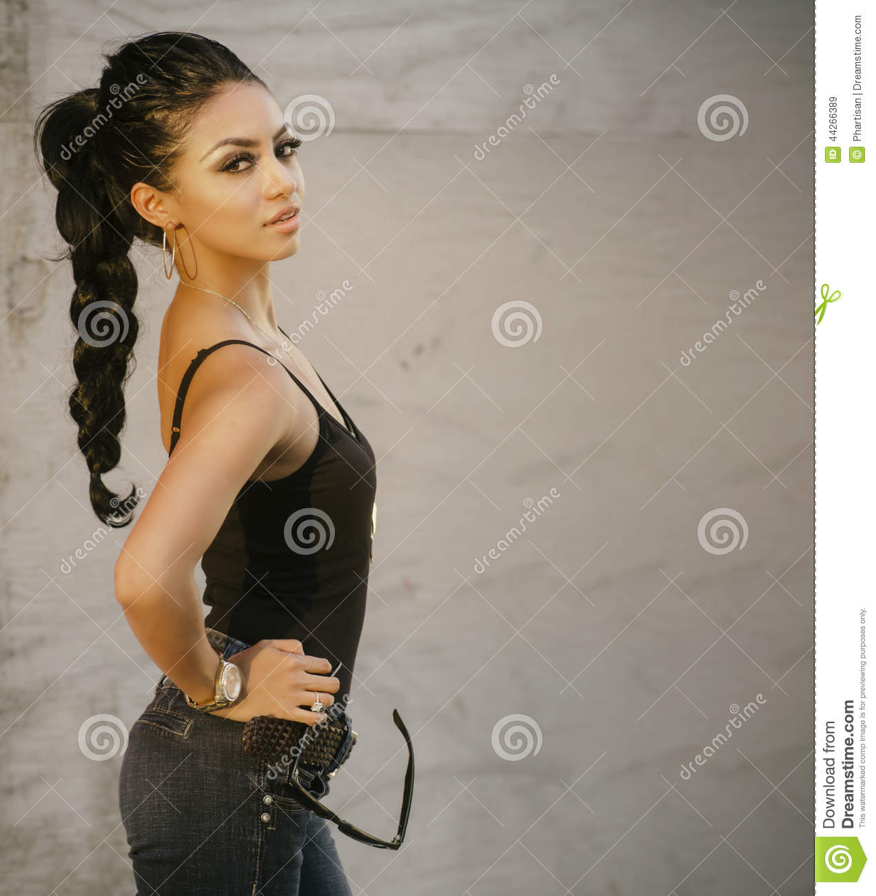 Exotic woman with braided hair
