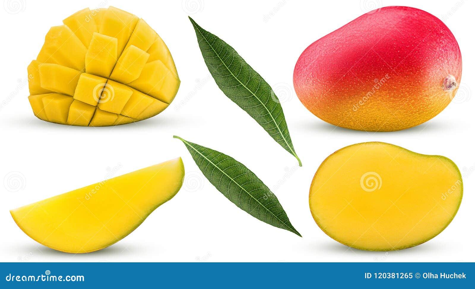 Exotisk frukt för samlingsmango som är hel, snitt i halvan, skiva, kuber
