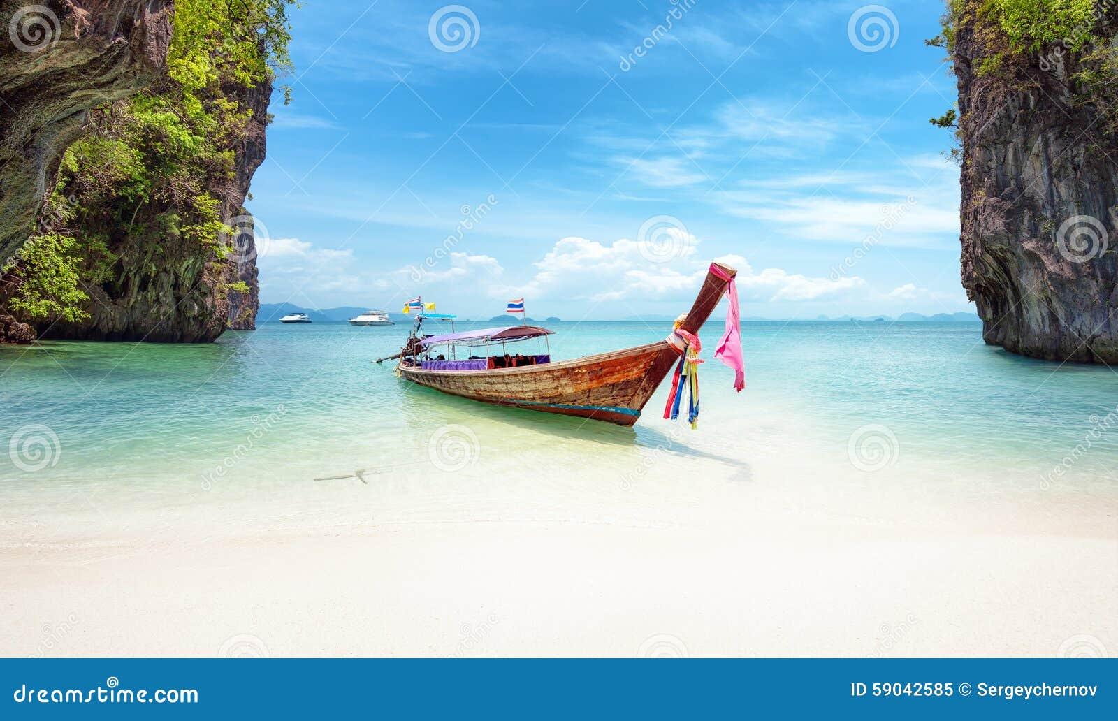 Exotisk strand i Thailand Bakgrund för Asien loppdestinationer