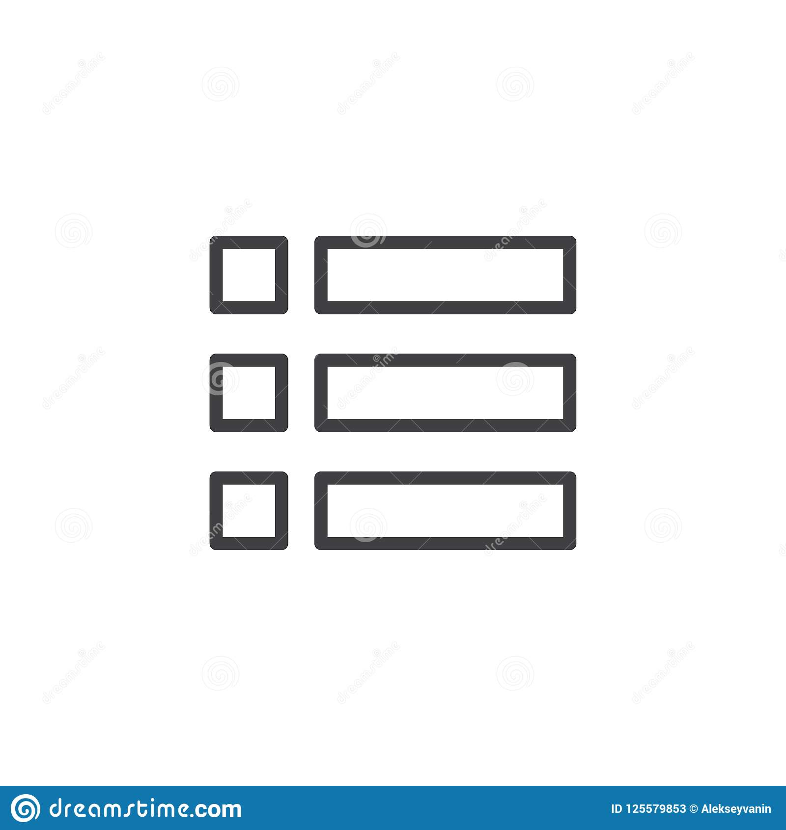expand menu outline icon stock vector illustration of sign 125579853