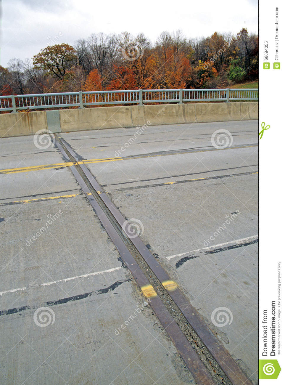 Expansion joint on bridge stock image  Image of settlement - 66684055