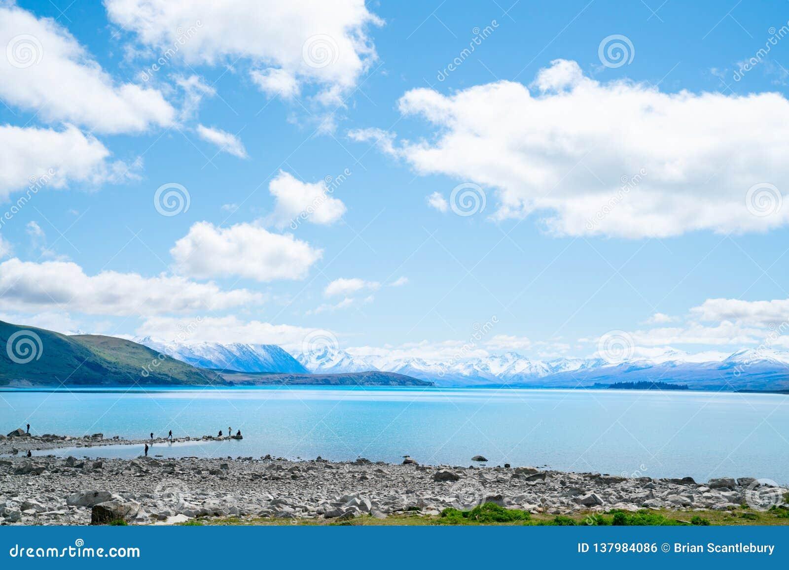 Expansivt siktsturkosvatten av sjön Tekapo med snö-korkade sydliga fjällängar bakom och turister på den steniga strandremsan