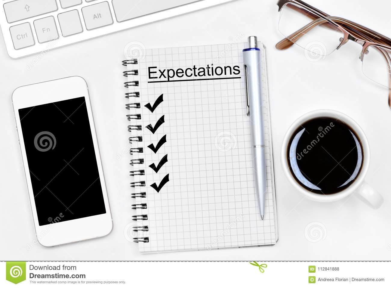 expectation word on notebook stock photo image of above