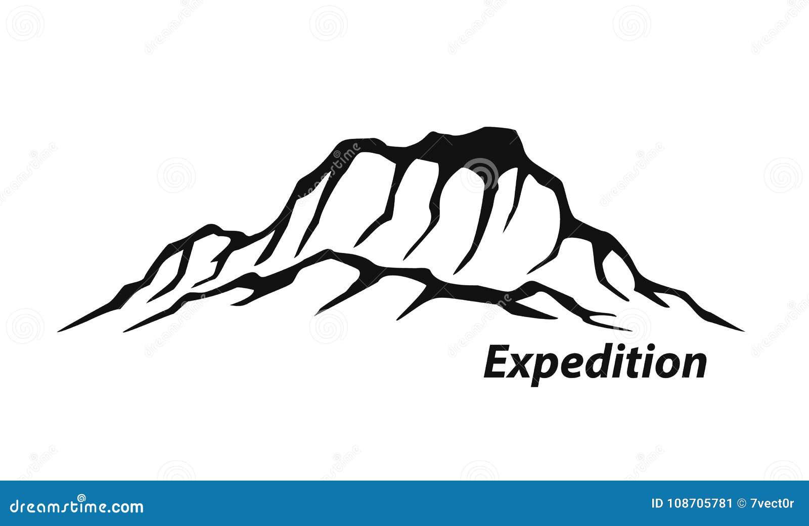 Expedição no logotipo de escalada da cordilheira da aventura exterior das montanhas