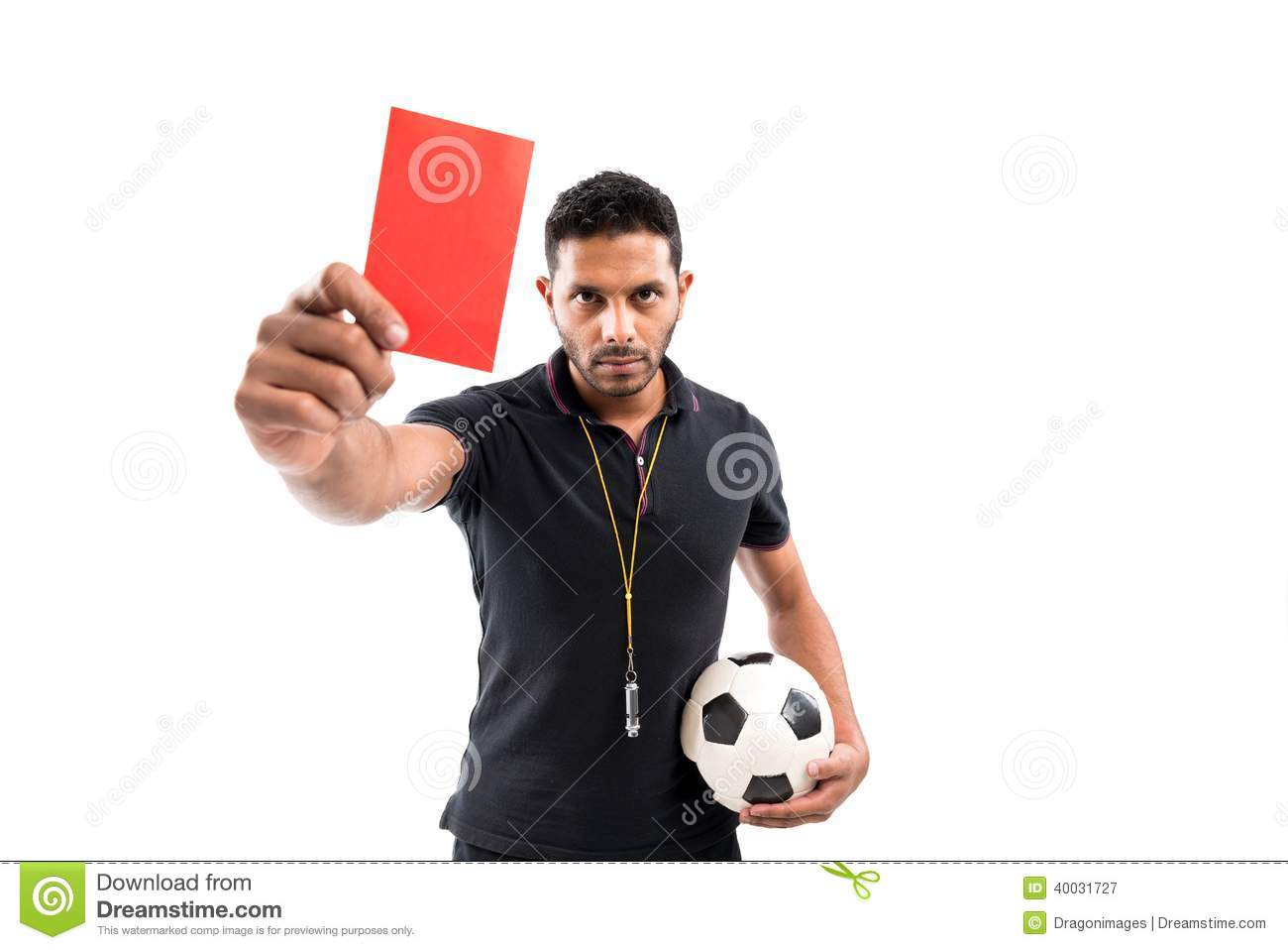expel portrait referee holding ball red card 40031727