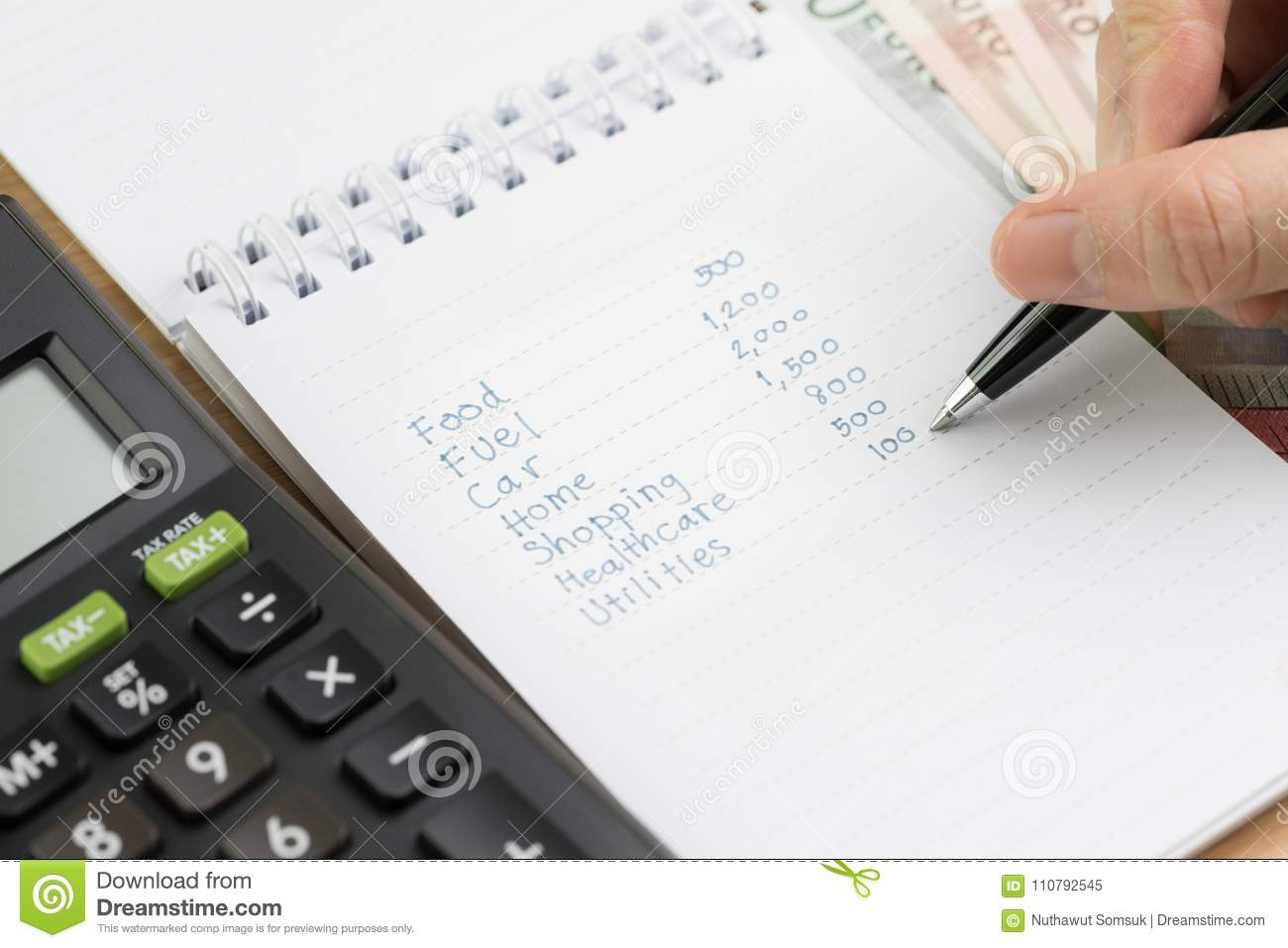 Expense Calculation Or Money Spent Pay Day Concept, Hand Holding ...