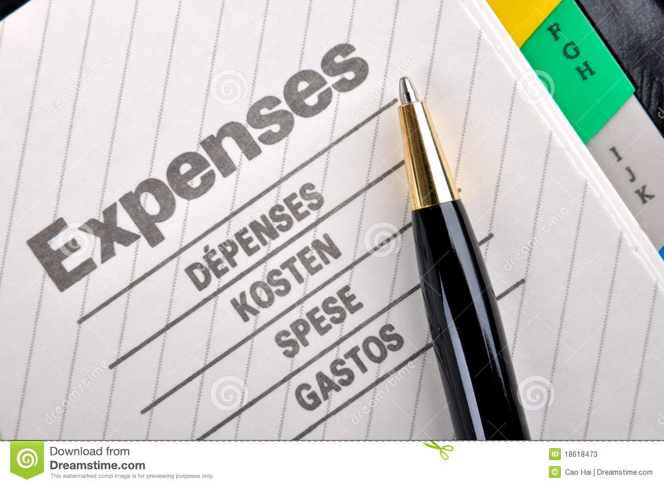 daily expenses record stock image image of note cost 18618473