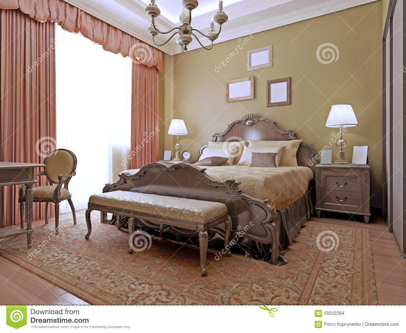 English style bedrooms - Expensive Bedroom Art Deco Style Stock Images