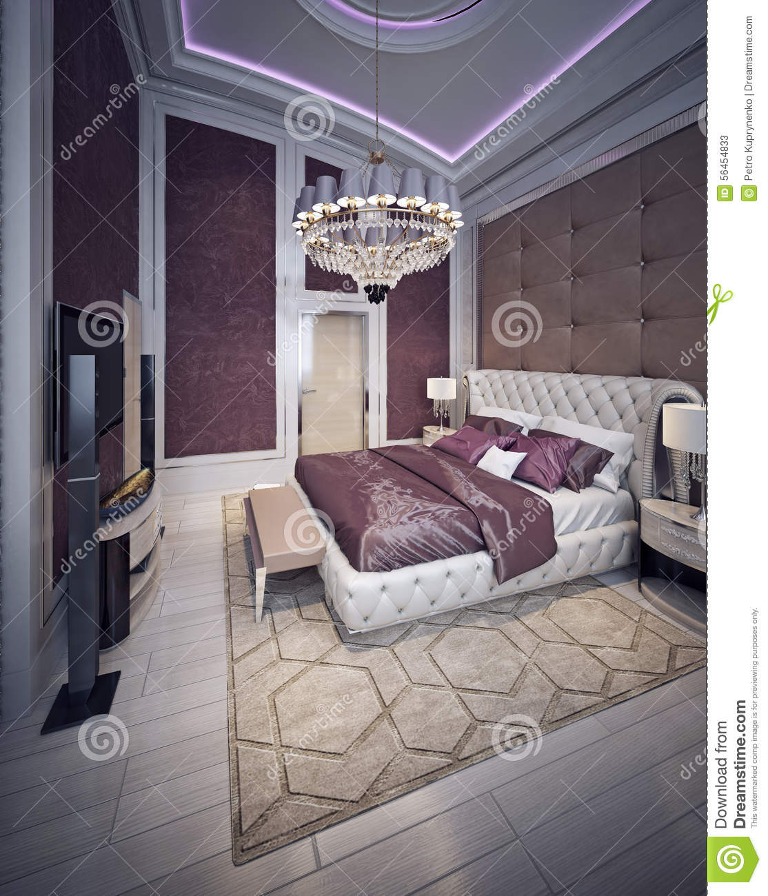 Expensive Bedroom Baroque Style Stock Photo - Image: 56454833