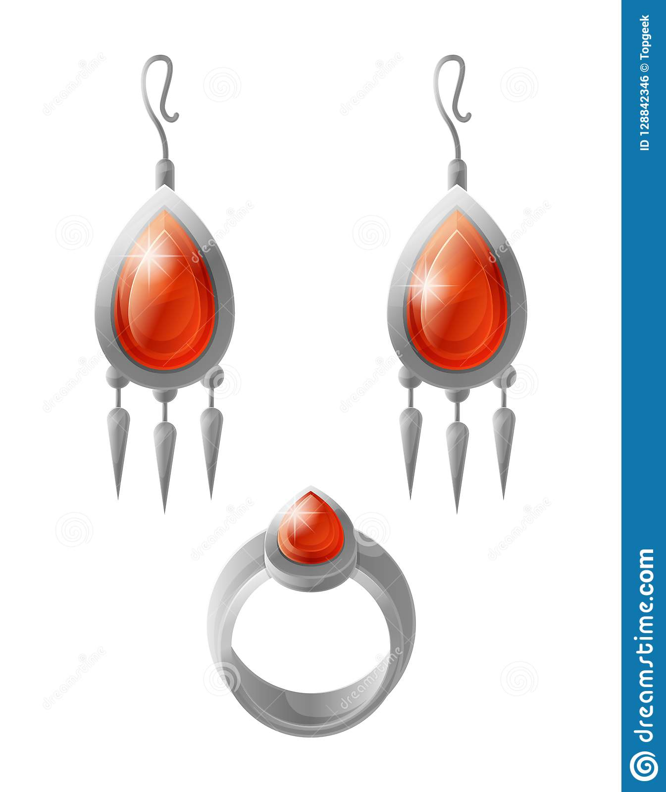 Expensive Earrings And Wedding Ring Stylish Vector Stock Vector