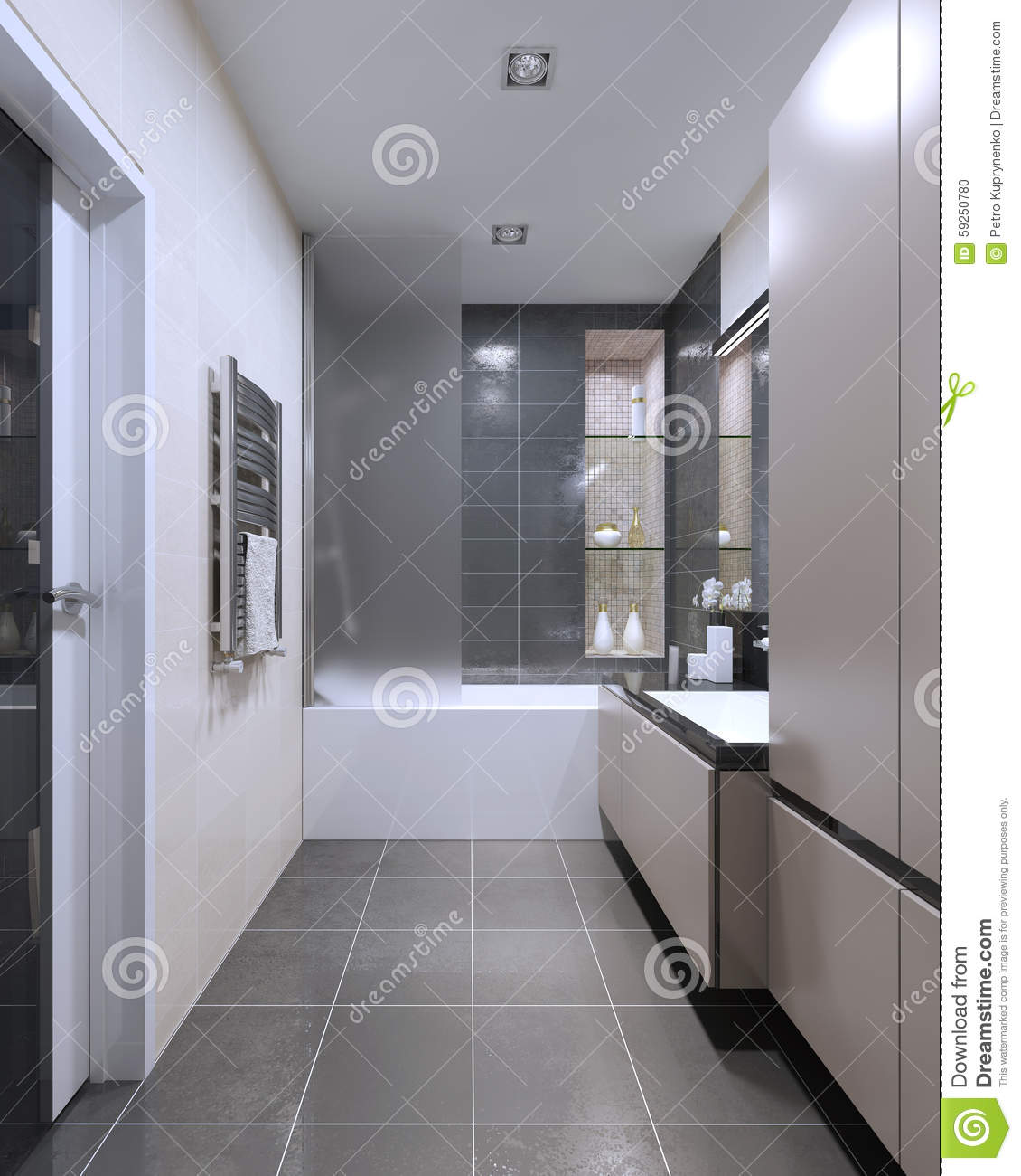 expensive high tech bathroom trend stock illustration