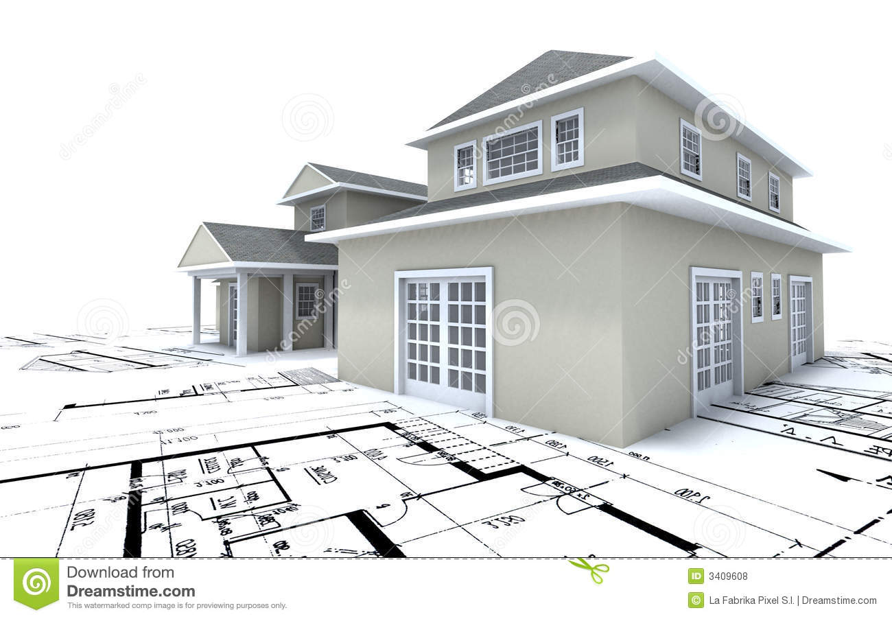 Expensive house on blueprints stock illustration for Printing architectural drawings
