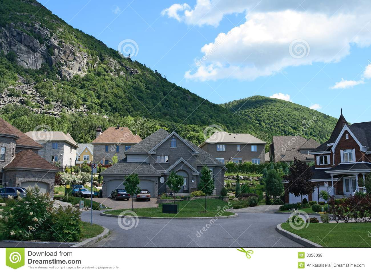 Expensive houses near mountain stock photo image 3050038 for House mountain