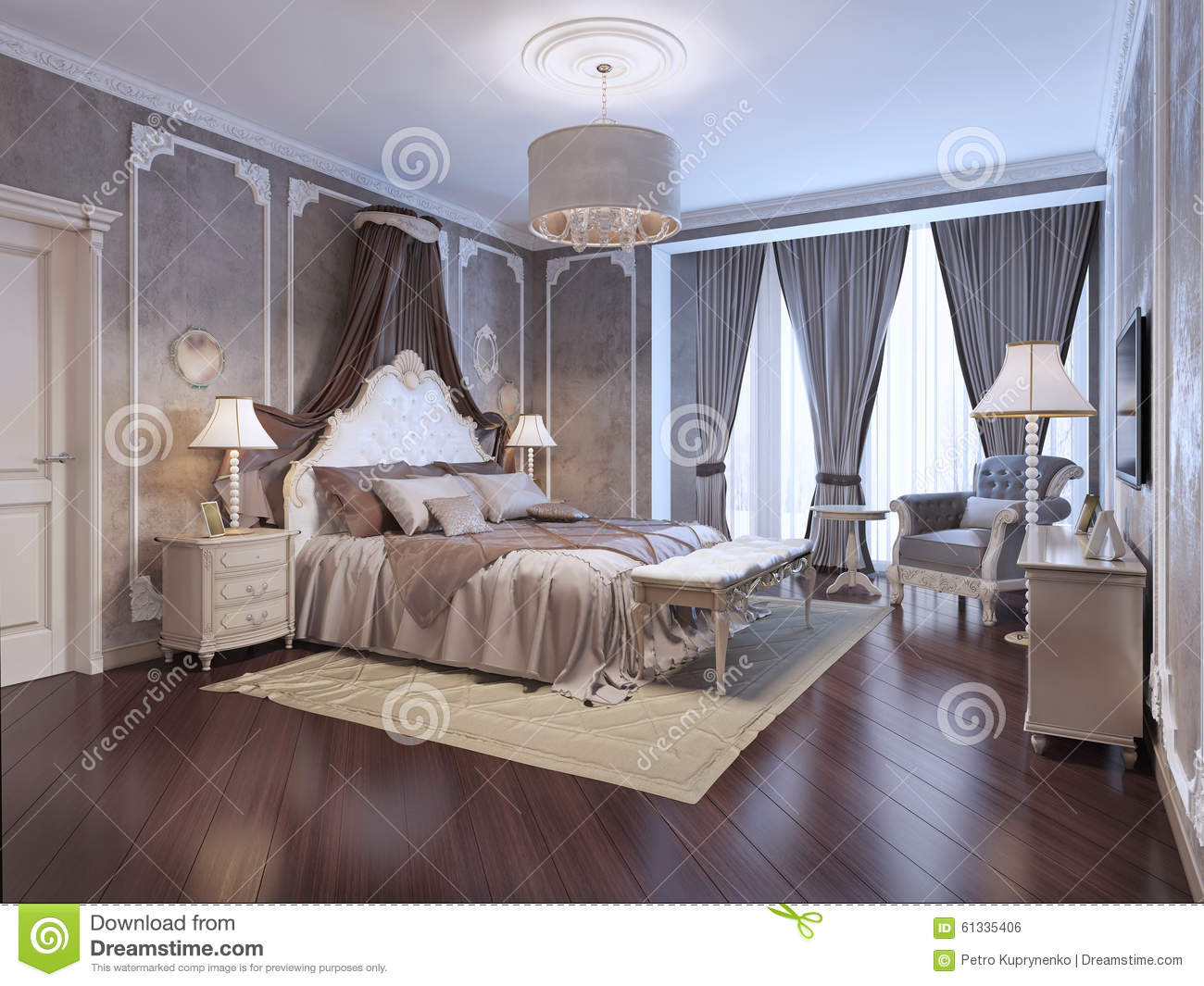 Expensive Interior Of Bohemian Bedroom Stock Illustration - Is parquet flooring expensive