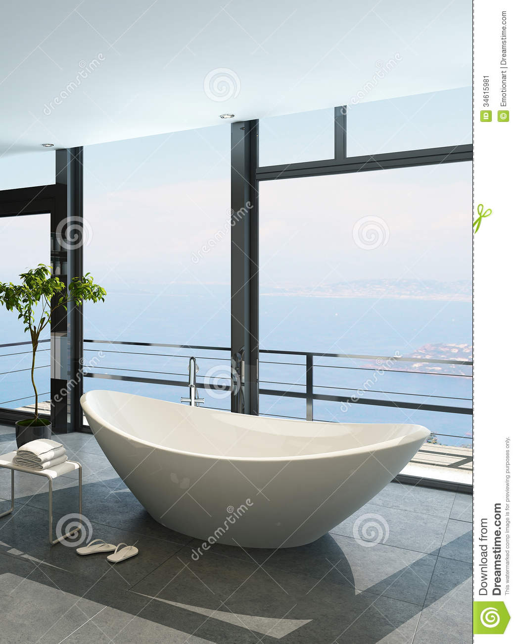Expensive Luxury Bathtub Against Panoramic Window With Seascape View ...