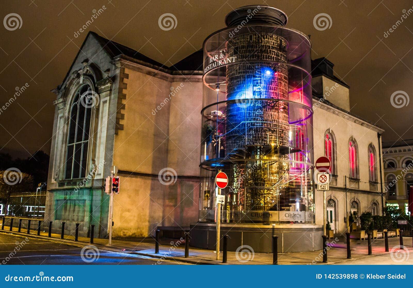 DUBLIN, IRELAND - FEBRUARY 17, 2017: The Chuch Bar and Restaurant at night. Located in the heart of Dublin