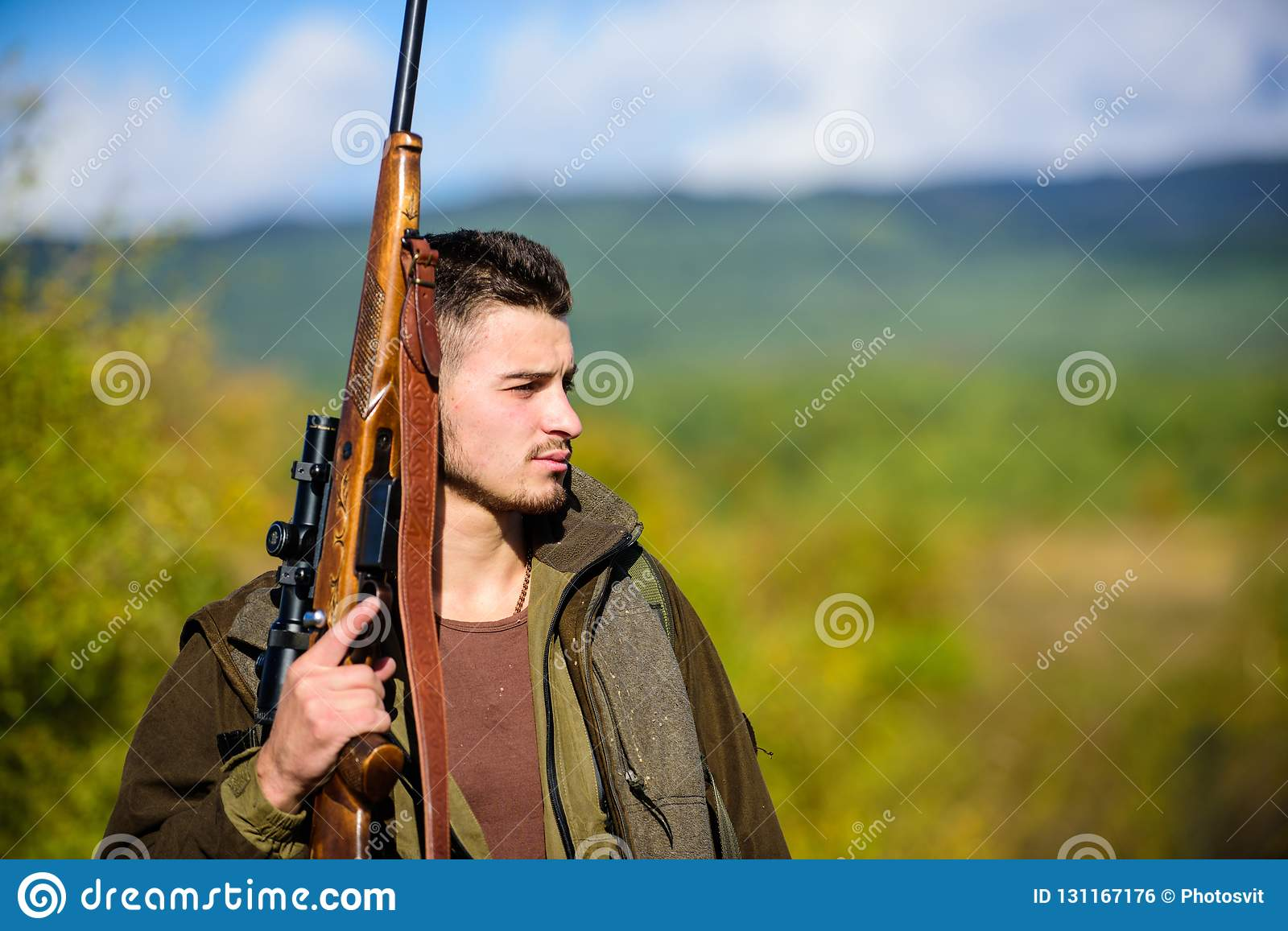Experience and practice lends success hunting. Guy hunting nature environment. Masculine hobby activity. Hunting season