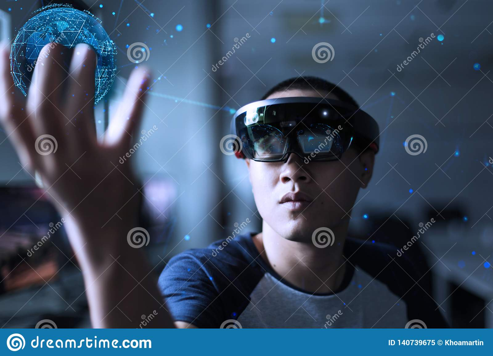 Experience Virtual Reality World With Hololens 1 Stock Image