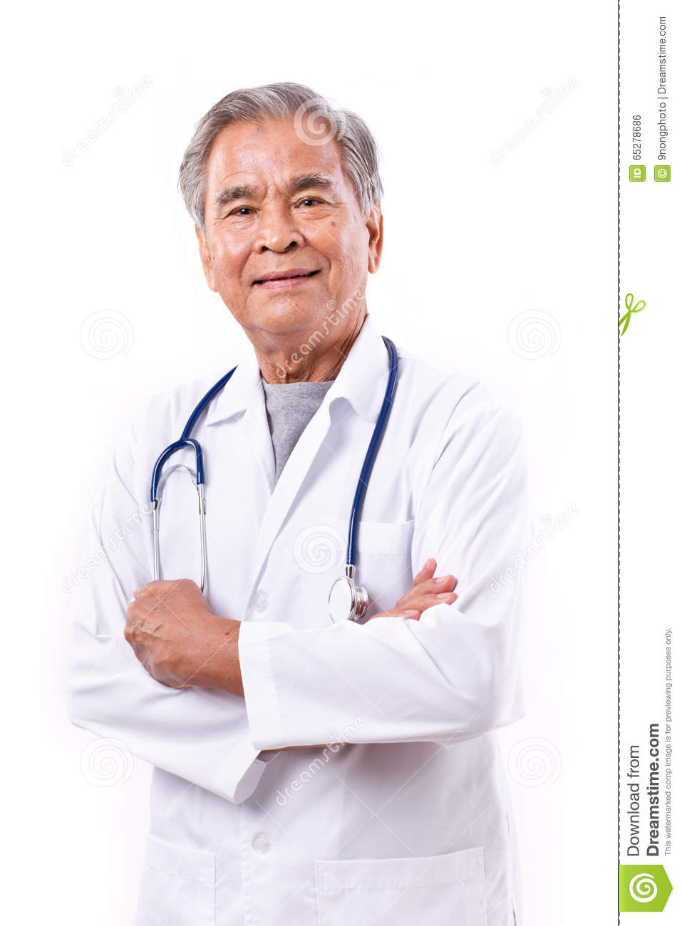 Experienced asian doctor, arm crossing