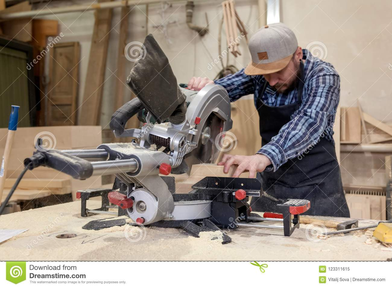 Experienced carpenter working