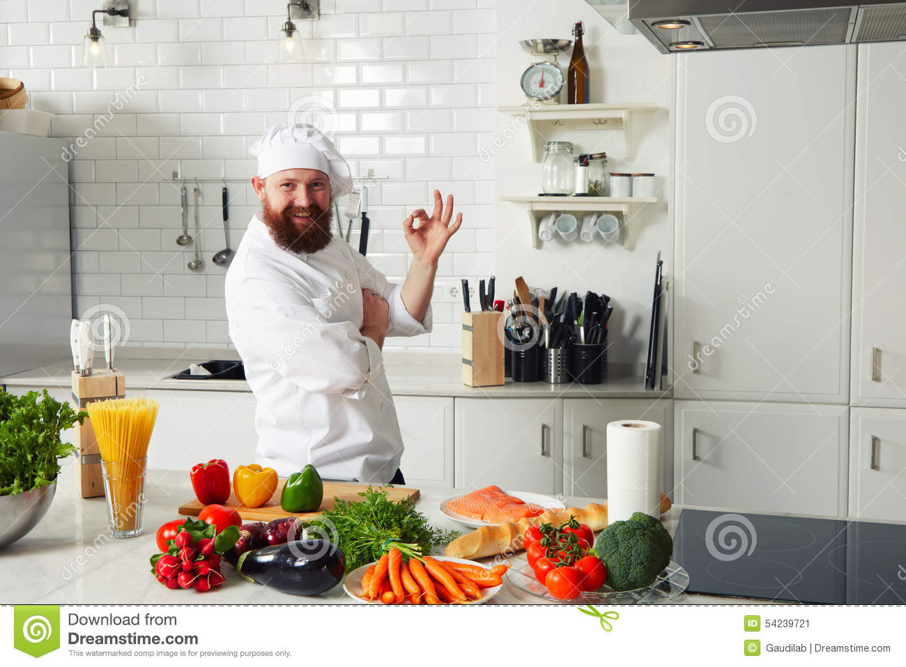 Experienced Chef Making OK Sign Standing On The Kitchen Stock ...