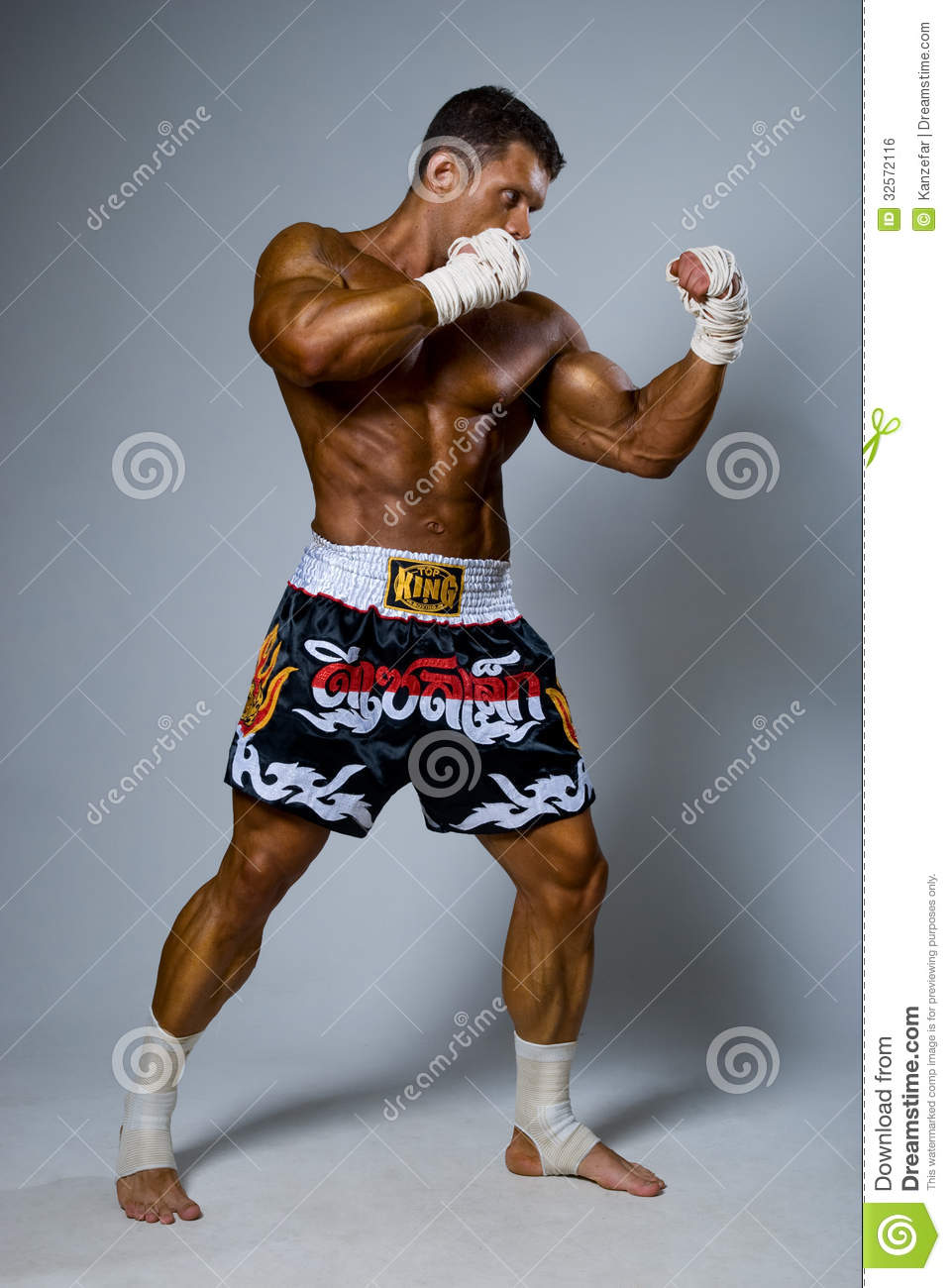 An Experienced Fighter Kickboxer In A Fighting Stance. Royalty Free ...