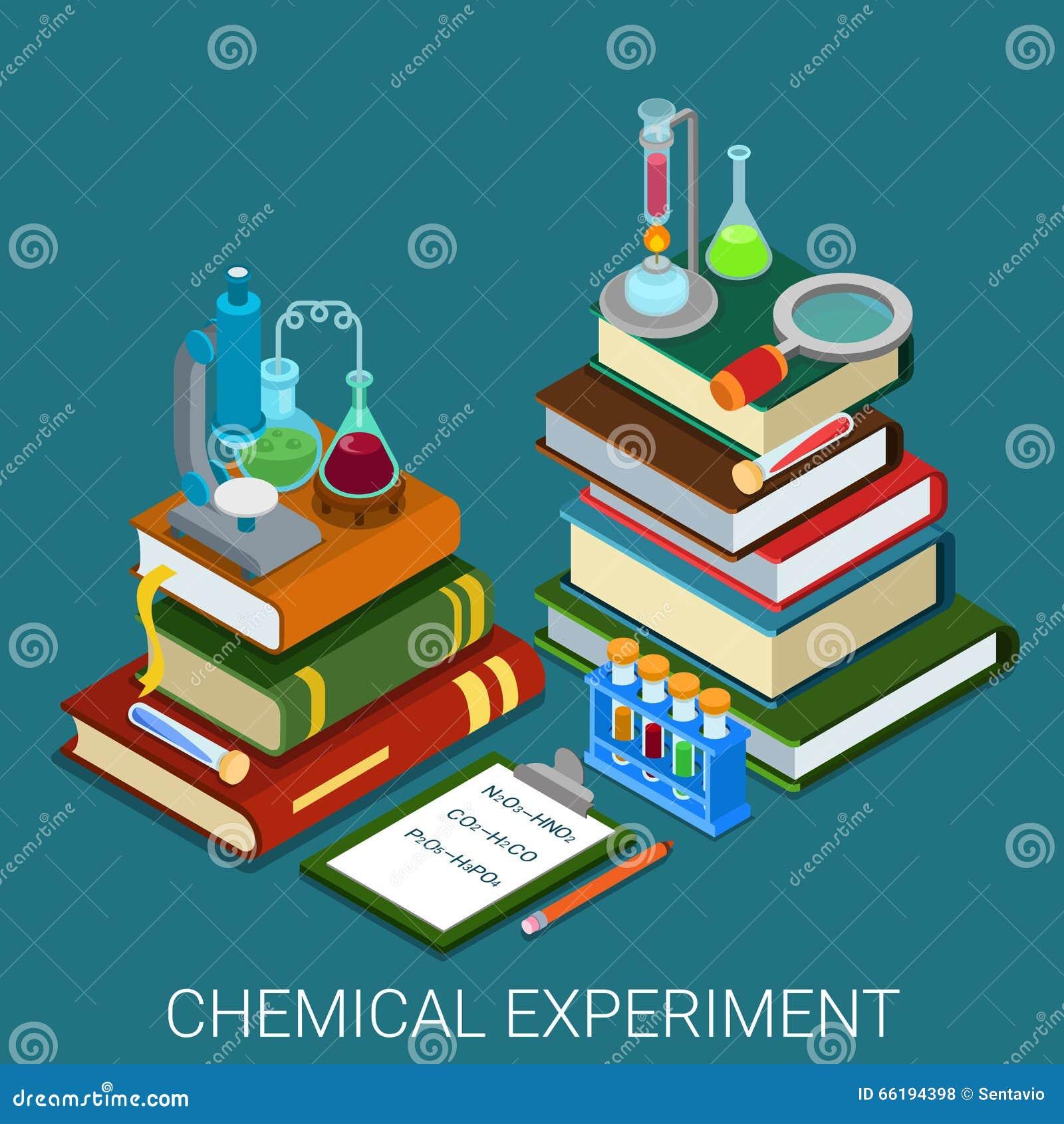 Experiment-Forschungsbücher des flachen isometrischen Vektors 3d chemische Labor