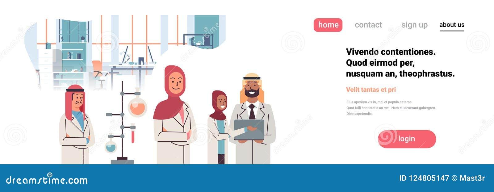Experimenterar arabiska forskare för gruppen som arbetar laboratoriumet som gör kemikalieer för studien för laget för forskningpr