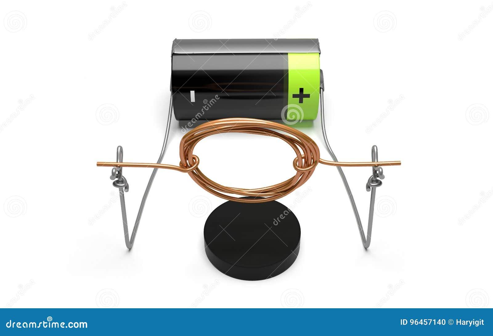 Circuito Electrico Simple Con Interruptor : Experimento simple del motor eléctrico con vista delantera de la