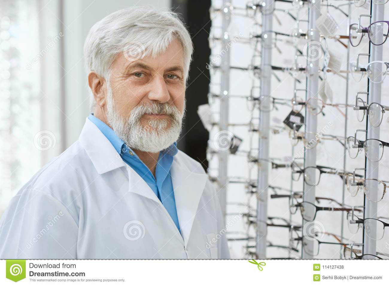 Expirienced Eye Specialist Staing In Gront Of Stand With Glasses Stock Photo Image Of Glasses Ophthalmologist 114127438