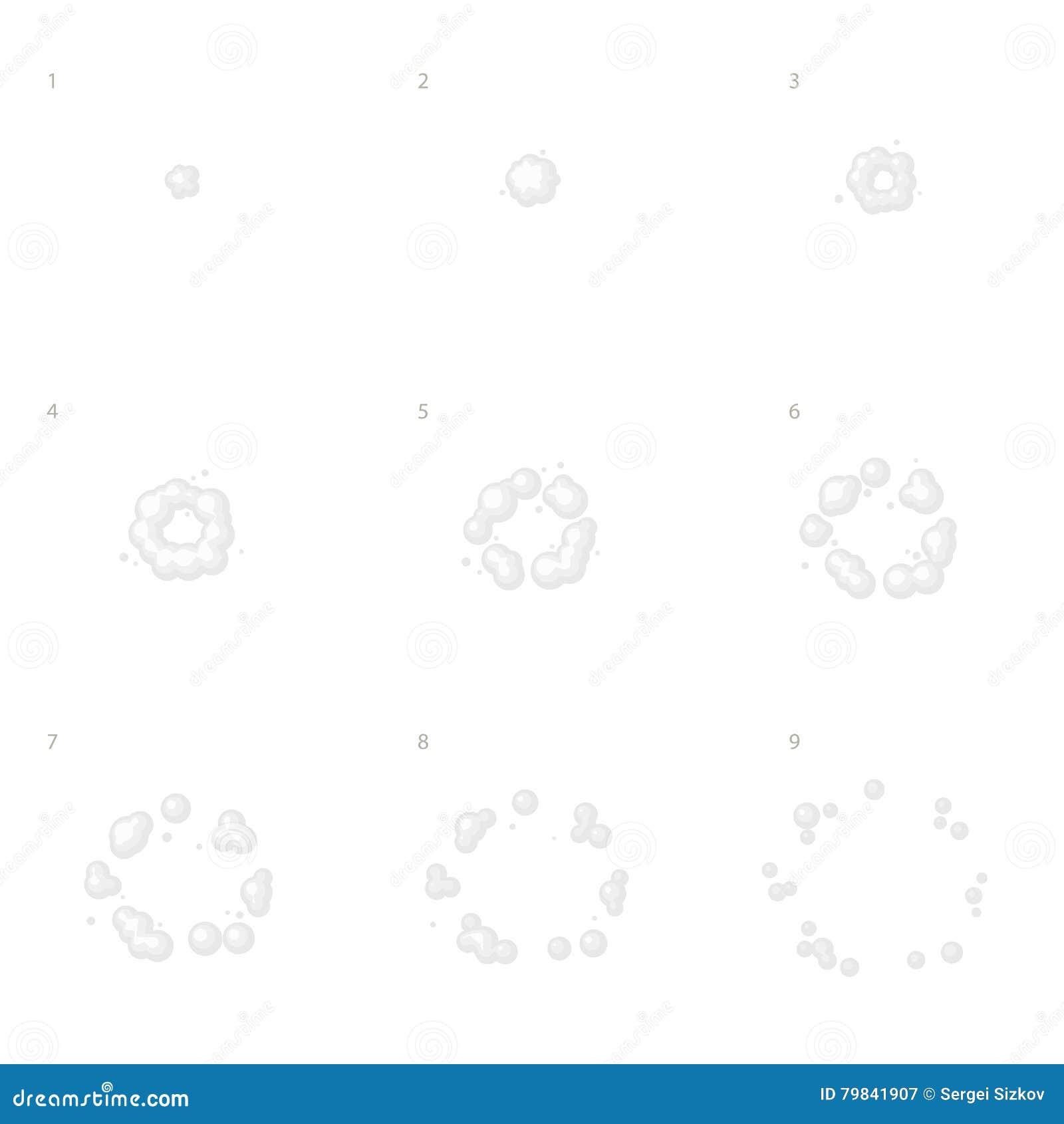 Explode Animation Sequence . Cartoon Explosion Frames. Vector Stock ...