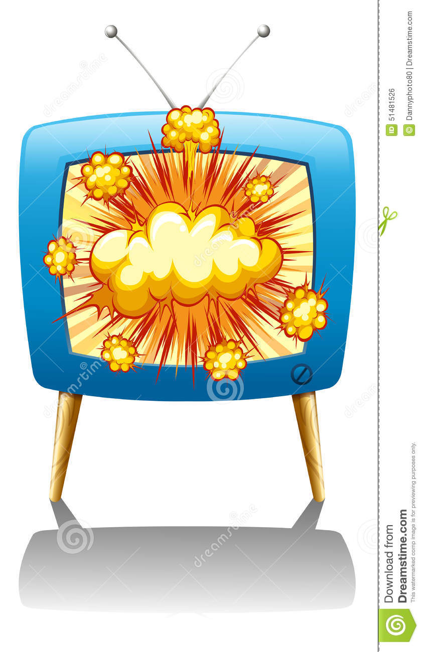 explode and tv stock vector illustration of omical