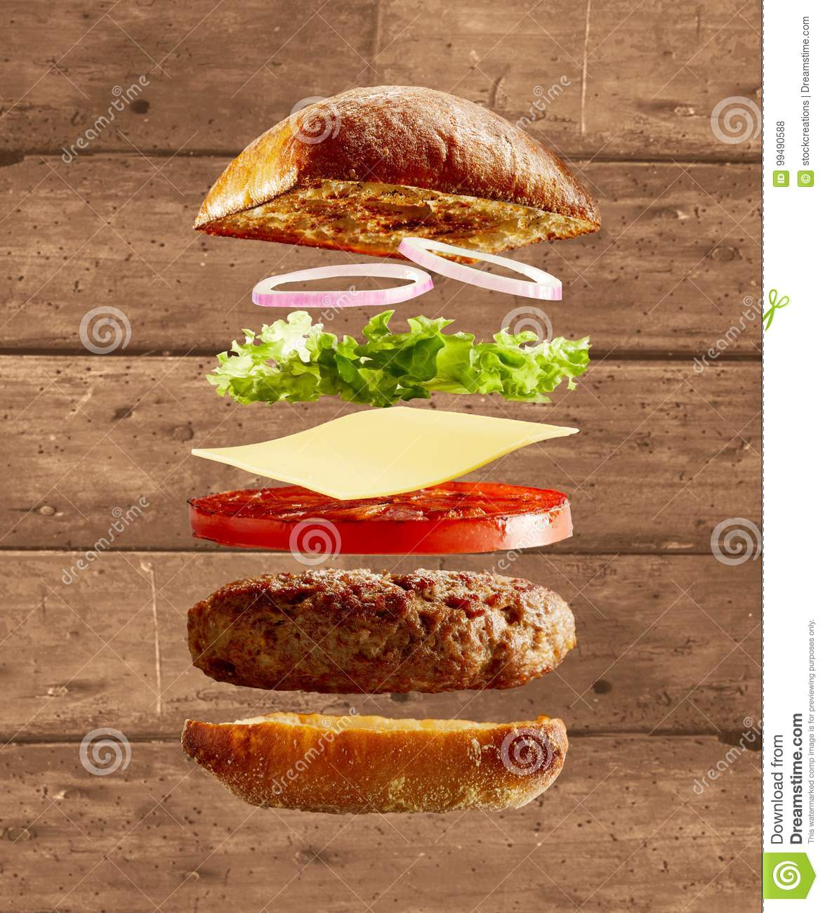 Cost U Less >> Exploded Diagram Of Burger, Buns And Ingredients Stock ...