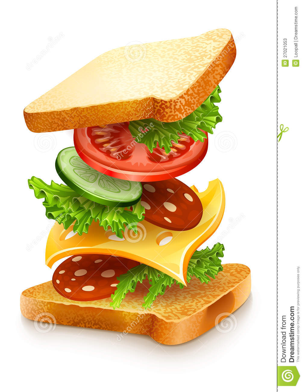 Exploded View Of Sandwich Ingredients Stock Illustration
