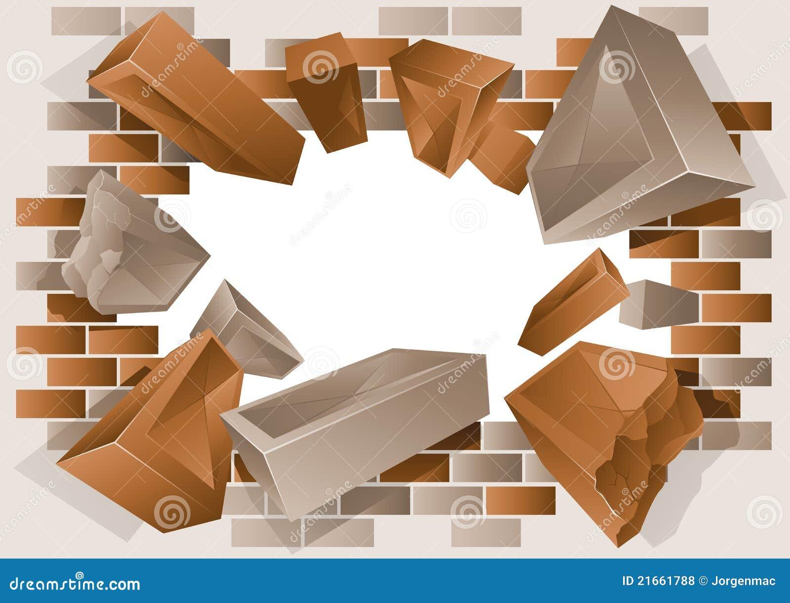 Behang Stenen Muur Wit : Exploding Brick Wall Clip Art