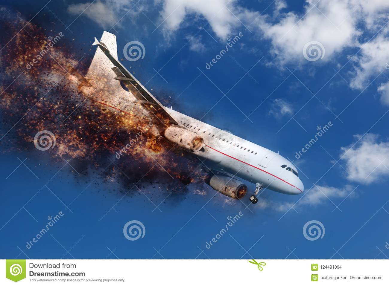 exploding and burning aircraft in the sky before crashing down stock