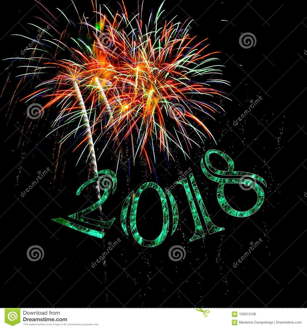 Fireworks Happy New Year 2018 Green Sparkle Stock Photo - Image of ...