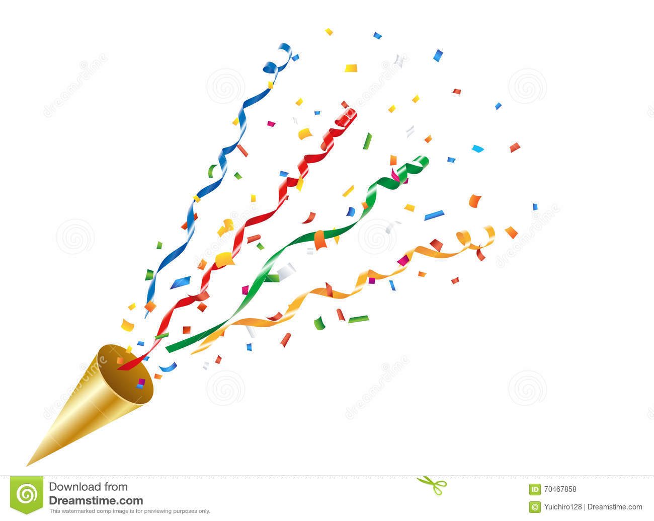 exploding party popper with confetti and streamer royalty free illustration