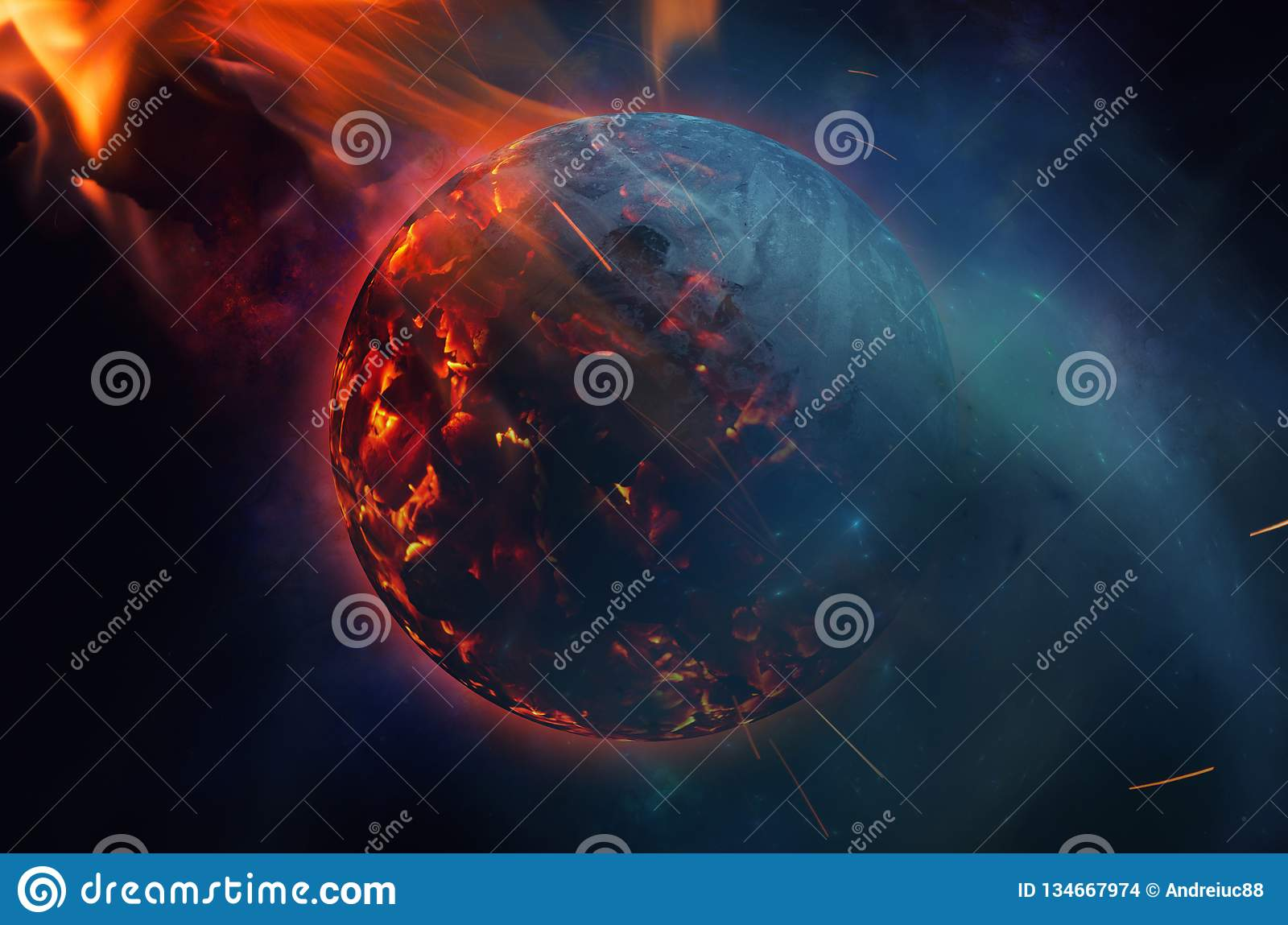 Exploding Planet After Asteroid Impact Stock Illustration