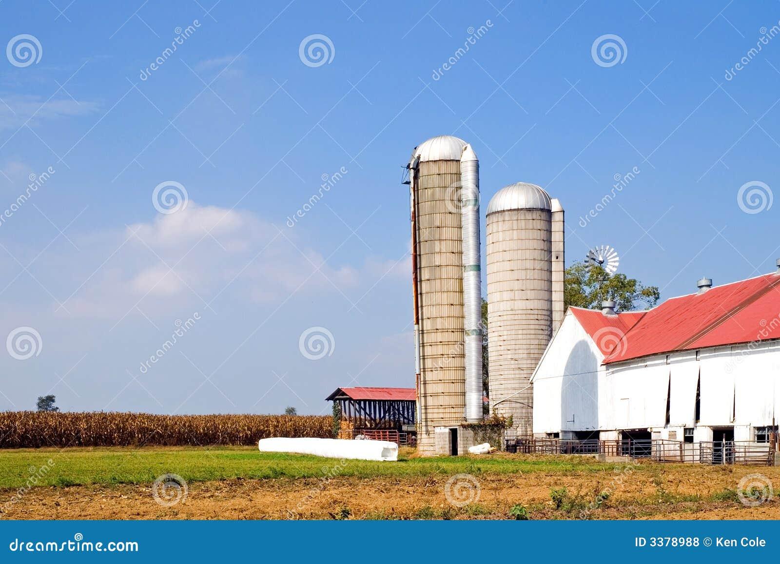 Exploração agrícola e silos autênticos de Amish