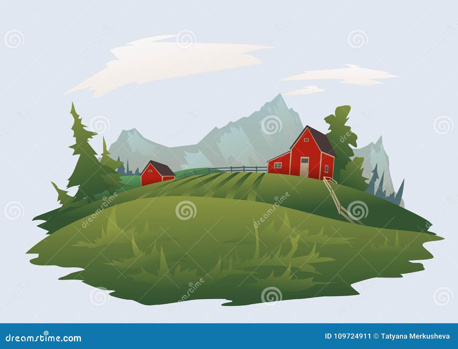 Exploração agrícola ou rancho na paisagem alpina da montanha Ilustração isolada do vetor