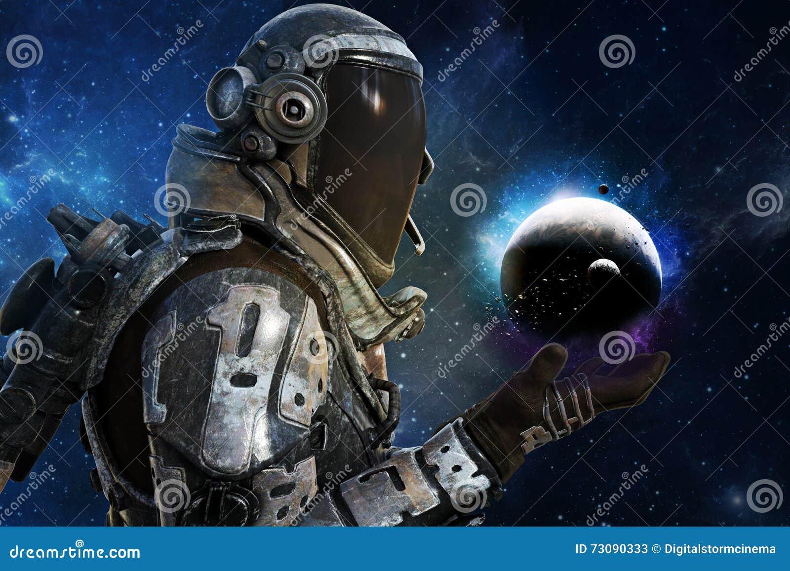 Exploração, astronautas futuristas de A do conceito da galáxia