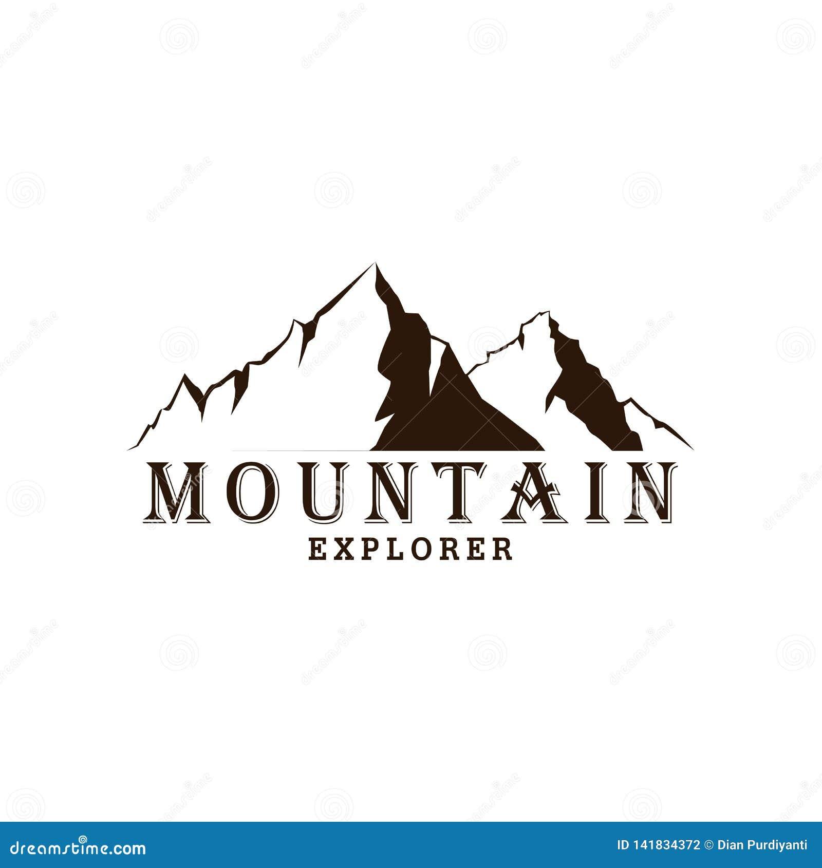 Explorador blanco y negro Adventure Badge Logo, muestra, vector de la montaña del icono
