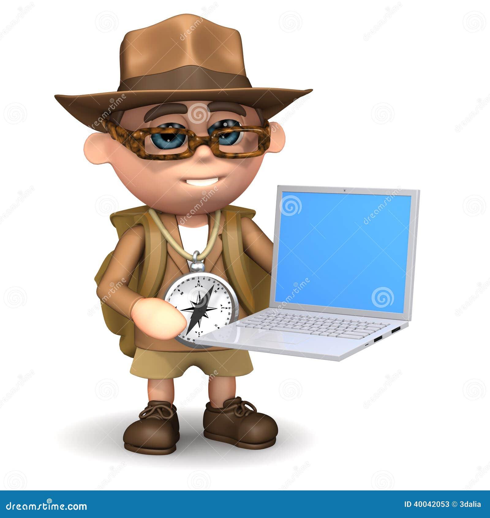 Explorateur 3d avec l ordinateur portable