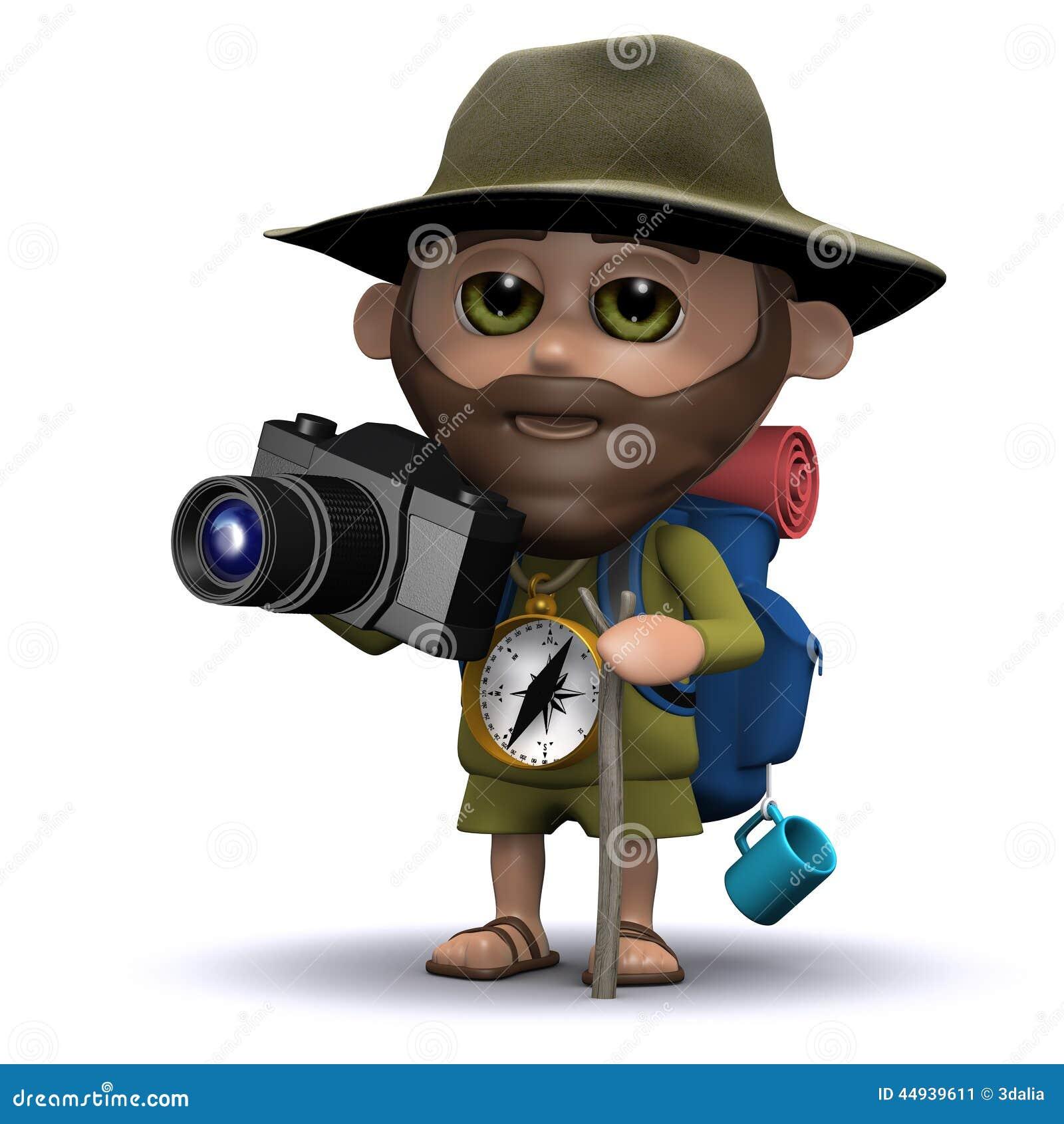 Explorateur 3d prenant des photos avec son appareil-photo