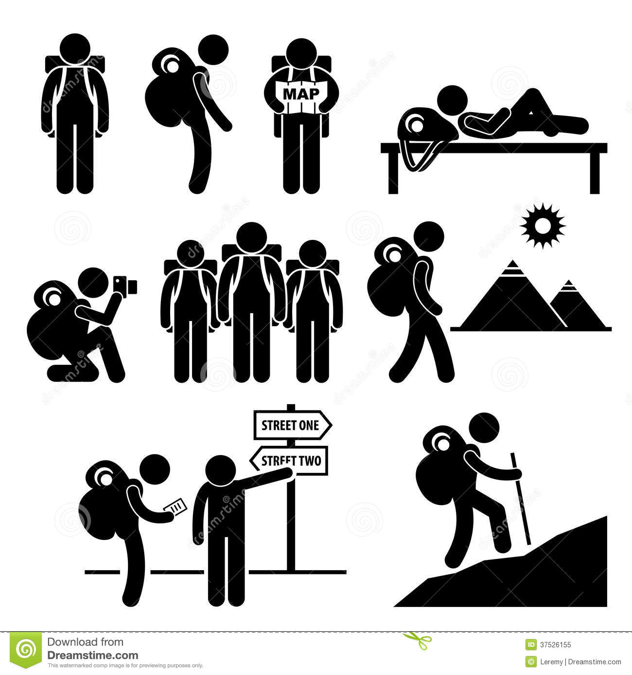 explorateur stick figure pictogram de voyageur de sac dos illustration de vecteur. Black Bedroom Furniture Sets. Home Design Ideas
