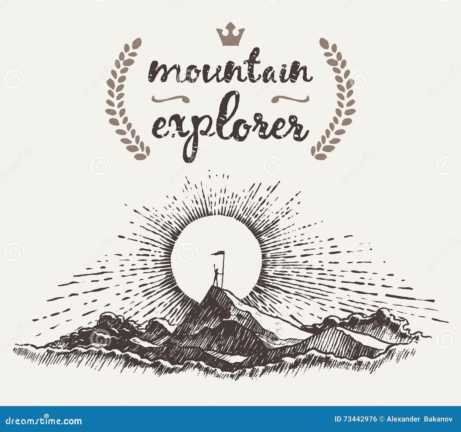Explorateur tiré de concept de gagnant de montagne de dessus d homme