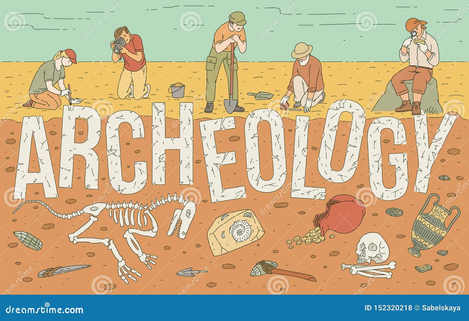 Exploration archéologique d illustration historique de vecteur d objets façonnés